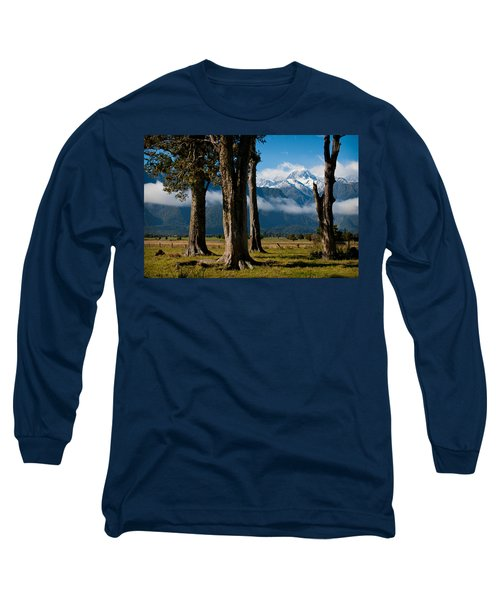 Mt Cook Through Trees Long Sleeve T-Shirt