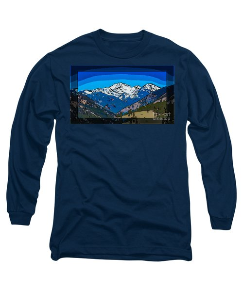 Long Sleeve T-Shirt featuring the painting Mt Gardner In The Spring Abstract Painting  by Omaste Witkowski