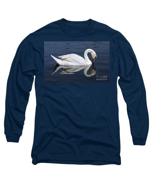 Long Sleeve T-Shirt featuring the photograph Mute Swan Kissing Its Reflection by Susan Wiedmann