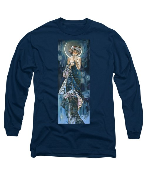 My Acrylic Painting As An Interpretation Of The Famous Artwork Of Alphonse Mucha - Moon - Long Sleeve T-Shirt by Elena Yakubovich