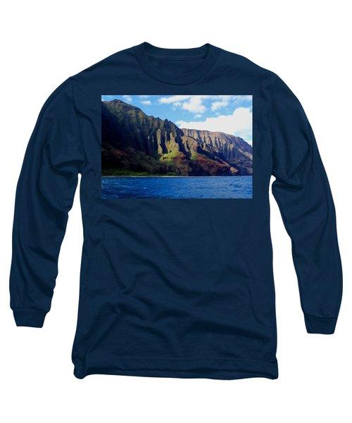 Na Pali Coast On Kauai Long Sleeve T-Shirt by Amy McDaniel