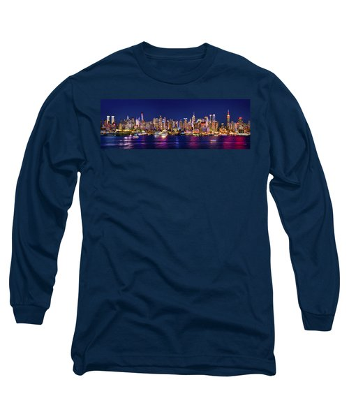 New York City Nyc Midtown Manhattan At Night Long Sleeve T-Shirt