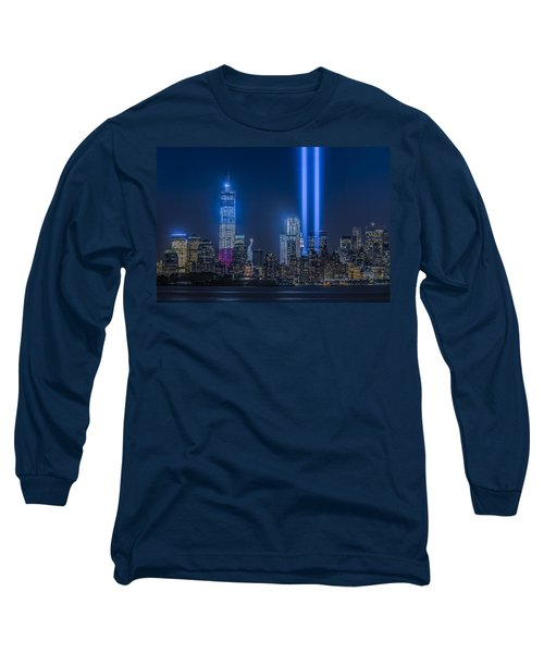 Long Sleeve T-Shirt featuring the photograph New York City Tribute In Lights by Susan Candelario