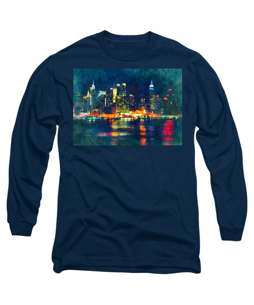 New York State Of Mind Abstract Realism Long Sleeve T-Shirt