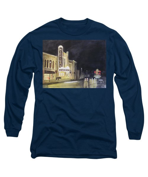 Night Time At Michigan Theater - Ann Arbor Mi Long Sleeve T-Shirt by Yoshiko Mishina