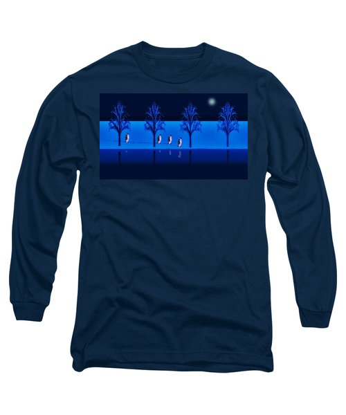 Night Walk Of The Penguins Long Sleeve T-Shirt