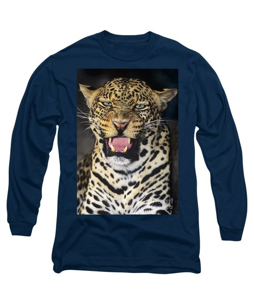 No Solicitors African Leopard Endangered Species Wildlife Rescue Long Sleeve T-Shirt by Dave Welling