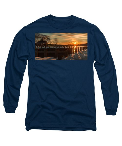Northport New York Winter Sunset Long Sleeve T-Shirt