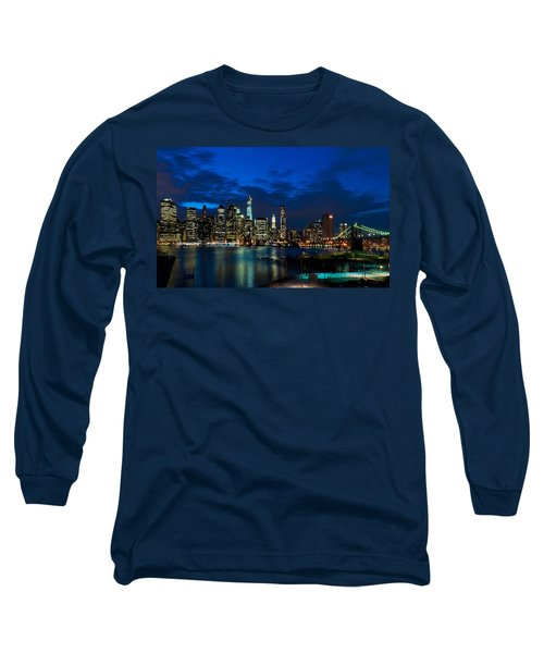 Ny Skyline From Brooklyn Heights Promenade Long Sleeve T-Shirt by Mitchell R Grosky