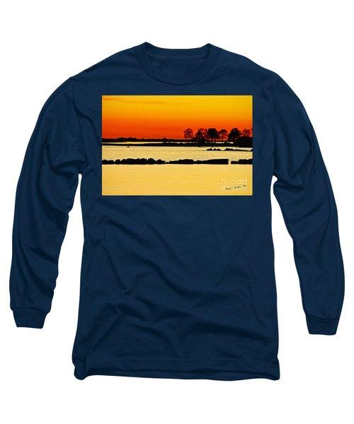 Orange Sunset Long Sleeve T-Shirt by Carol F Austin