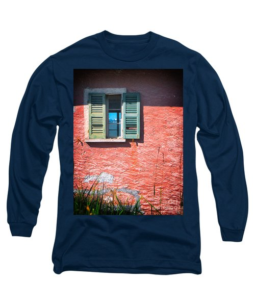 Long Sleeve T-Shirt featuring the photograph Old Window With Reflection by Silvia Ganora