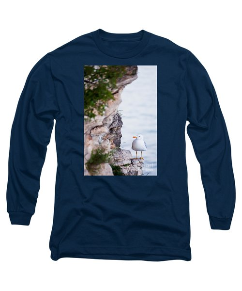 Long Sleeve T-Shirt featuring the photograph On The Cliffs Of Rocca Di Manerba by Simona Ghidini