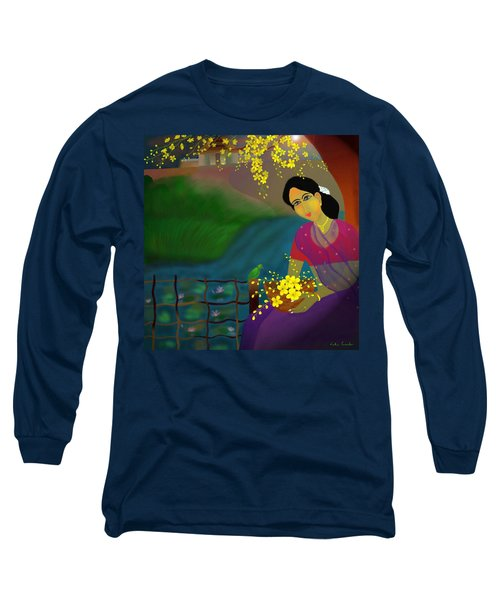 Long Sleeve T-Shirt featuring the digital art On The Eve Of Golden Shower Festival by Latha Gokuldas Panicker