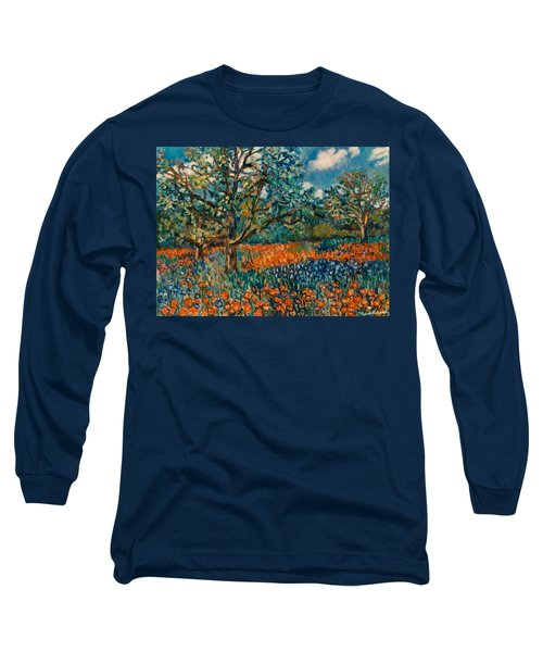 Orange And Blue Flower Field Long Sleeve T-Shirt