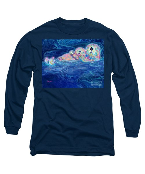 Long Sleeve T-Shirt featuring the mixed media Otter Family by Teresa Ascone