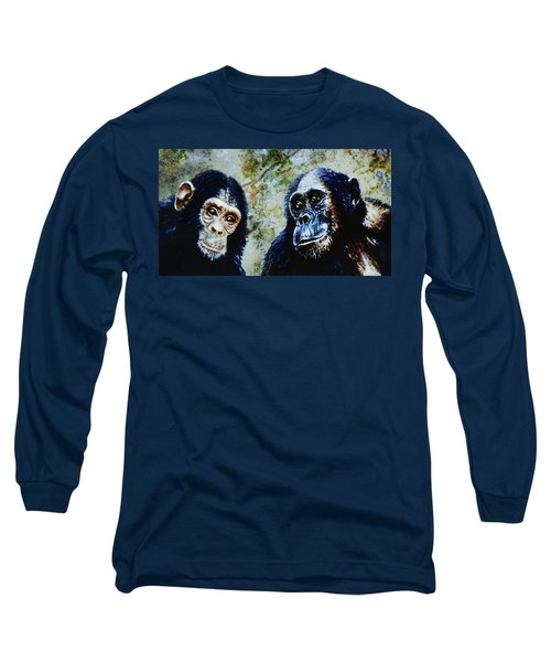Long Sleeve T-Shirt featuring the painting Our Closest Relatives by Hartmut Jager