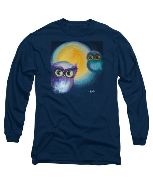 Long Sleeve T-Shirt featuring the painting Owl Be Watching You by Agata Lindquist