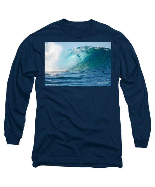 Pacific Big Wave Crashing Long Sleeve T-Shirt by IPics Photography