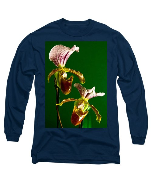 Long Sleeve T-Shirt featuring the photograph Pair Of Lady Slipper Orchids by Elf Evans