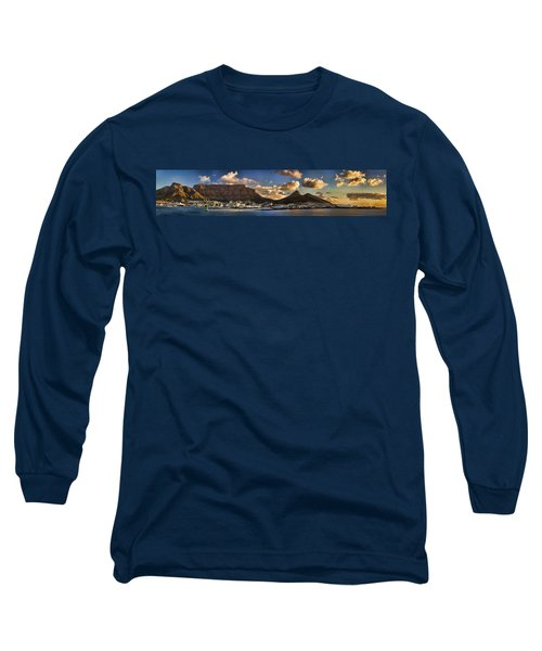 Panorama Cape Town Harbour At Sunset Long Sleeve T-Shirt