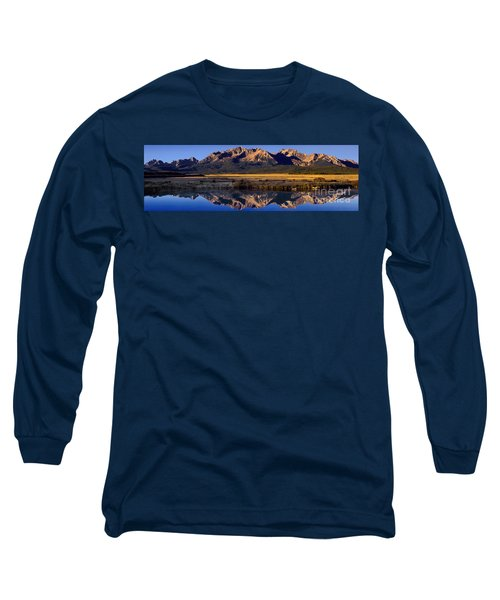 Panorama Reflections Sawtooth Mountains Nra Idaho Long Sleeve T-Shirt by Dave Welling