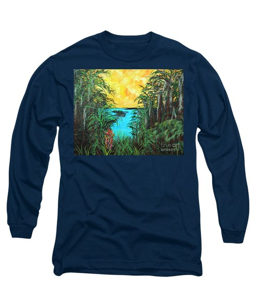 Long Sleeve T-Shirt featuring the painting Panther Island In The Bayou by Alys Caviness-Gober
