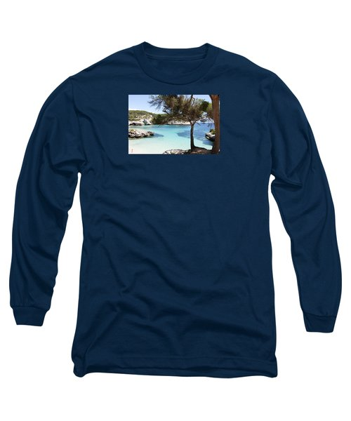 Paradise In Minorca Is Called Cala Mitjana Beach Where Sand Is Almost White And Sea Is A Deep Blue  Long Sleeve T-Shirt by Pedro Cardona