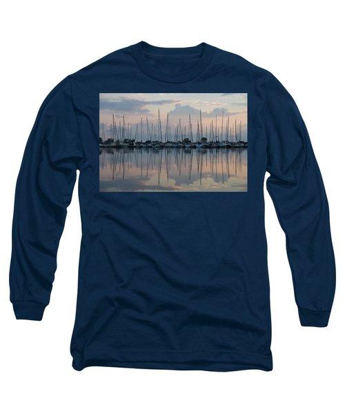 Pastel Sailboats Reflections At Dusk Long Sleeve T-Shirt