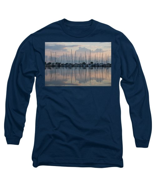 Pastel Sailboats Reflections At Dusk Long Sleeve T-Shirt