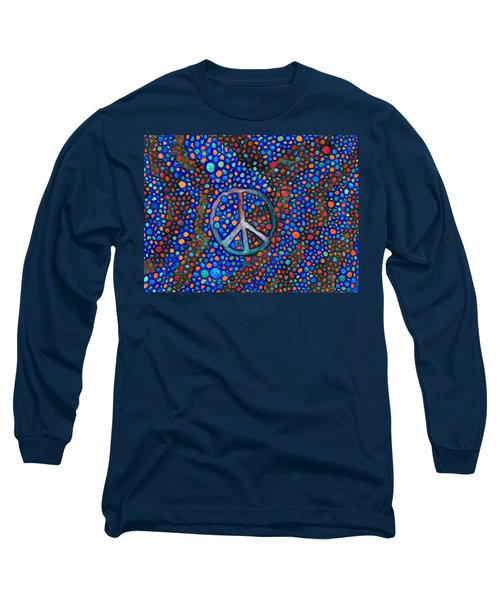 Long Sleeve T-Shirt featuring the painting Peace Sign by Janice Dunbar