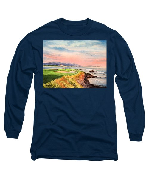 Pebble Beach Golf Course Hole 7 Long Sleeve T-Shirt by Bill Holkham