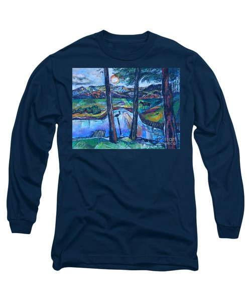 Pelican And Moose In Landscape Long Sleeve T-Shirt