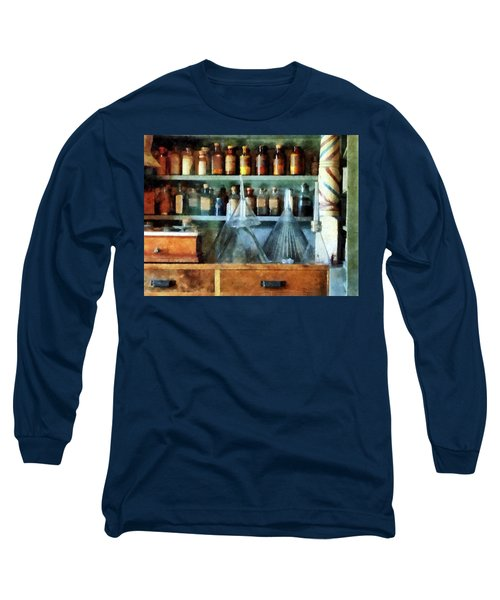 Long Sleeve T-Shirt featuring the photograph Pharmacist - Glass Funnels And Barber Pole by Susan Savad