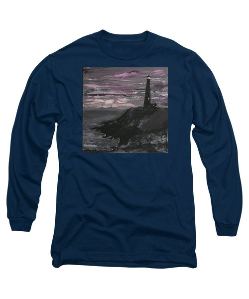 Long Sleeve T-Shirt featuring the painting Pigeon Lighthouse Impasto Sunset Monochromatic by Ian Donley
