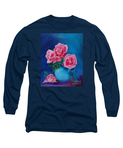 Pink Roses Long Sleeve T-Shirt by Jenny Lee