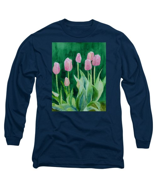 Pink Tulips Colorful Flowers Garden Art Original Watercolor Painting Artist K. Joann Russell Long Sleeve T-Shirt by Elizabeth Sawyer