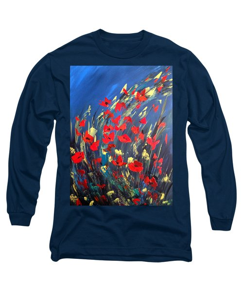 Long Sleeve T-Shirt featuring the painting Poppies Field On A Windy Day by Dorothy Maier