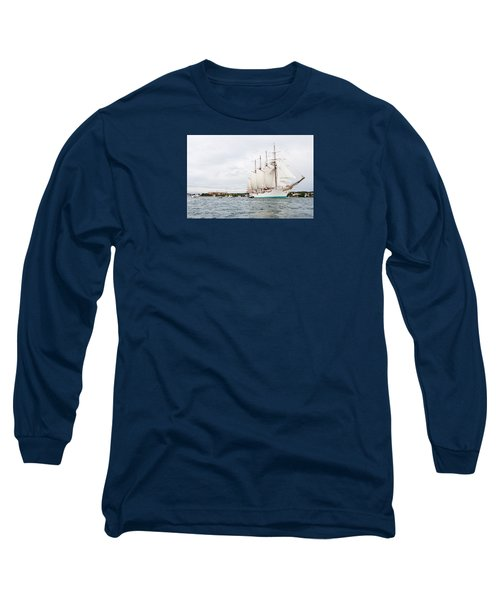Juan Sebastian De Elcano Famous Tall Ship Of Spanish Navy Visits Port Mahon In Front Of Bloody Islan Long Sleeve T-Shirt
