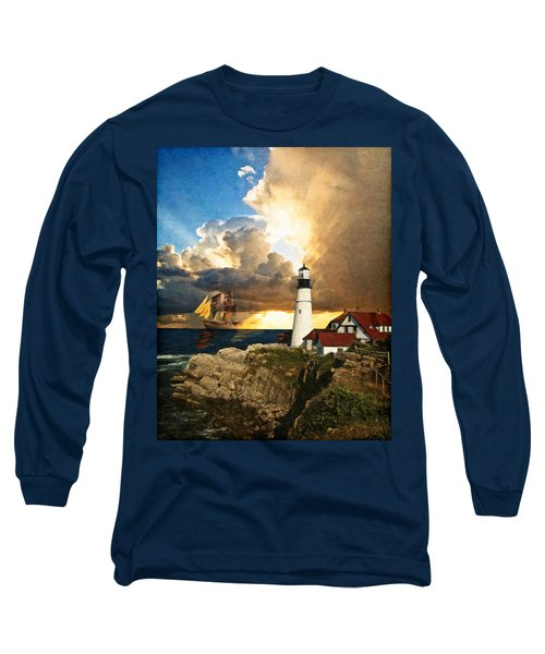 Portland Head Lighthouse Long Sleeve T-Shirt by Lianne Schneider