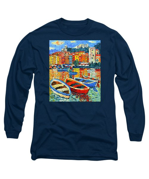 Portovenere Harbor - Italy - Ligurian Riviera - Colorful Boats And Reflections Long Sleeve T-Shirt