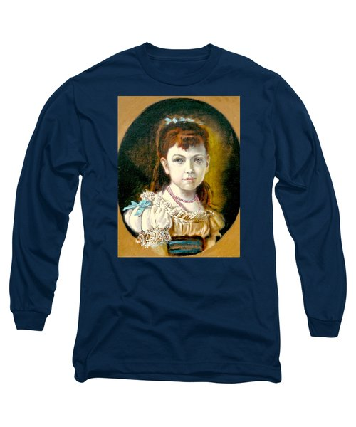 Long Sleeve T-Shirt featuring the painting Portrait Of Little Girl by Henryk Gorecki