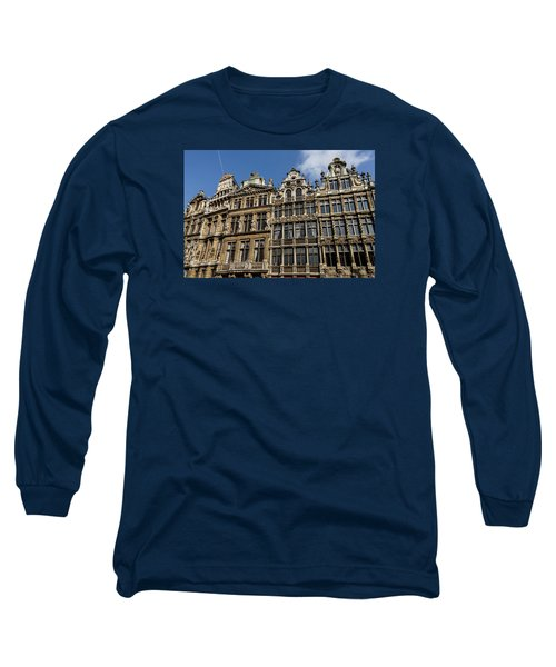 Long Sleeve T-Shirt featuring the photograph Postcard From Brussels - Grand Place Elegant Facades by Georgia Mizuleva