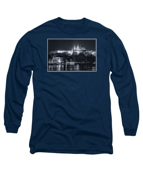 Prague Castle At Night Long Sleeve T-Shirt by Joan Carroll