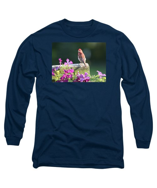 Purple Finch By Clematis Long Sleeve T-Shirt by Lucinda VanVleck