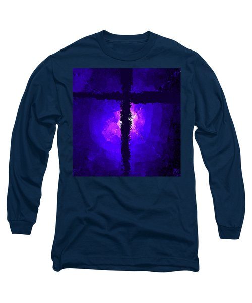 Purple Light Behind The Cross Long Sleeve T-Shirt