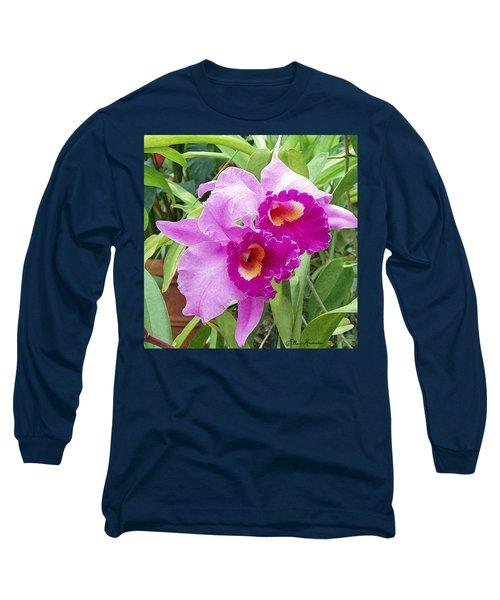 Purple Cattleya Orchids Long Sleeve T-Shirt by Ellen Henneke