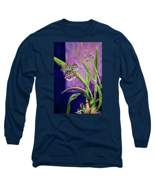 Long Sleeve T-Shirt featuring the painting Purple Orchids by Nancy Jolley