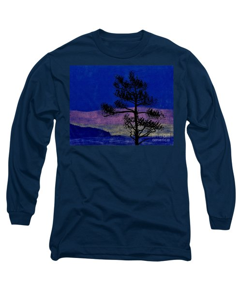 Long Sleeve T-Shirt featuring the drawing Purple Sunset Bay by D Hackett