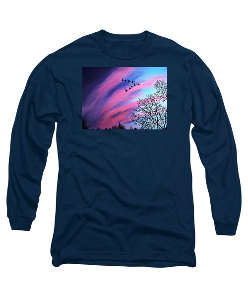 Raging Sky And Canada Geese Long Sleeve T-Shirt by Barbara Griffin