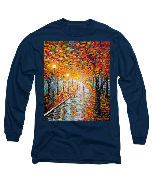 Long Sleeve T-Shirt featuring the painting Rainy Autumn Day Palette Knife Original by Georgeta  Blanaru